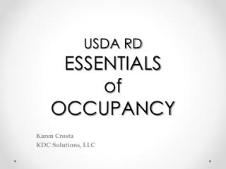 USDA RD ESSENTIALS  of OCCUPANCY