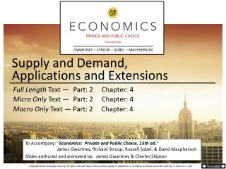 Supply and Demand,  Applications and Extensions