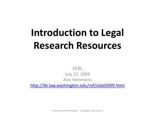 Introduction to Legal Research Resources