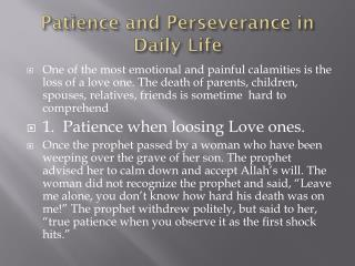 Patience and Perseverance in Daily Life