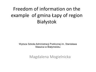 Freedom of information on the example  of gmina Łapy of region Białystok