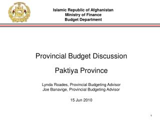 Provincial Budget Discussion Paktiya Province