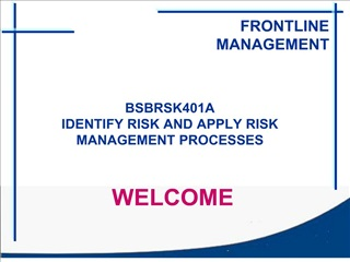 bsbrsk401a identify risk and apply risk management processes