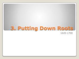 3. Putting Down Roots