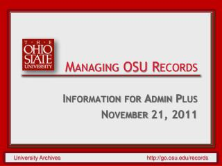 Managing OSU Records