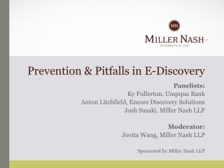 Prevention & Pitfalls in E-Discovery