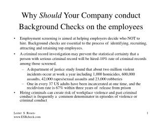 why should your company conduct background checks on the employees