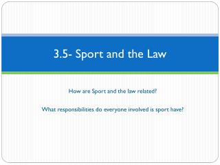 3.5- Sport and the Law
