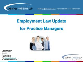 Employment Law Update for Practice Managers
