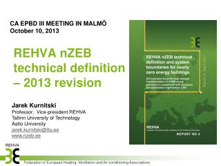 REHVA  nZEB  technical definition – 2013 revision