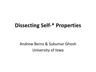 Dissecting Self-* Properties