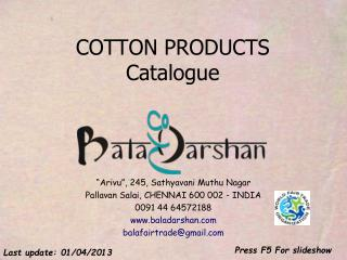 COTTON PRODUCTS Catalogue