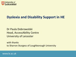 Dyslexia and Disability Support in HE