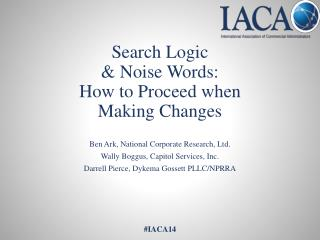 Search Logic & Noise Words: How to Proceed when Making Changes