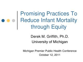Promising Practices To Reduce Infant Mortality through Equity