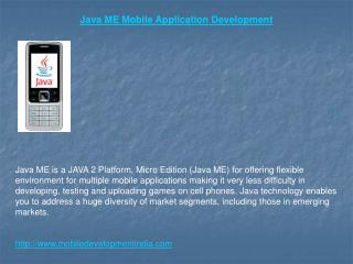 Java ME Application Development - Java ME Apps Developer