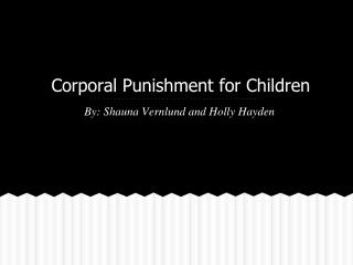 Corporal Punishment for Children