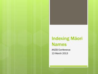 Indexing Māori Names