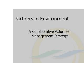 Partners In Environment
