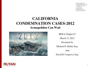 CALIFORNIA  CONDEMNATION CASES-2012 Armageddon Can Wait