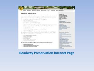 Roadway Preservation Intranet Page