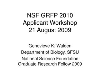 nsf grfp 2010 applicant workshop 21 august 2009