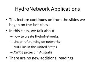 HydroNetwork  Applications
