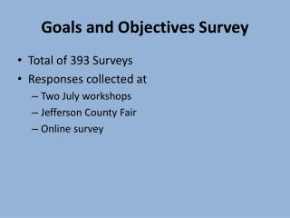 Goals and Objectives Survey
