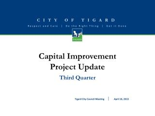 Capital Improvement  Project Update Third Quarter