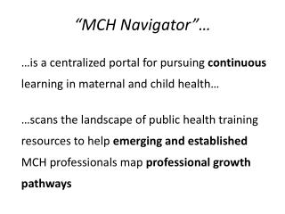 """MCH Navigator""…"