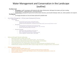 Water Management and Conservation in the  Landscape (outline)