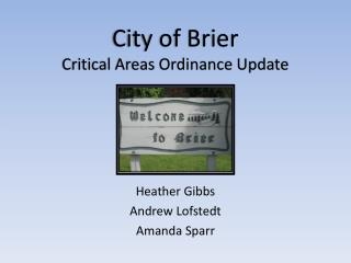City of Brier Critical Areas Ordinance Update