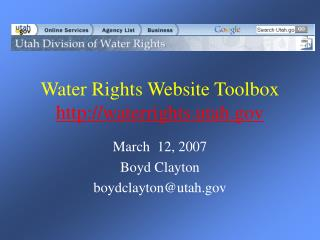Water Rights Website Toolbox waterrights.utah