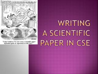 Writing  a scientific paper in CSE