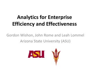 Analytics for Enterprise  Efficiency and Effectiveness