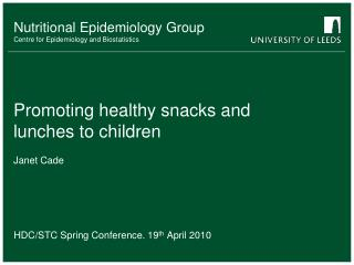 Promoting healthy snacks and lunches to children