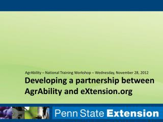 Developing a partnership between AgrAbility and eXtension.org