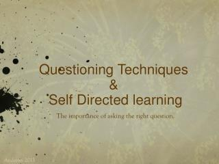 Questioning Techniques  & S elf  D irected learning