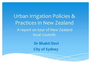 Urban Irrigation Policies & Practices in New Zealand