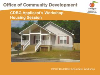 CDBG Applicant's Workshop Housing Session