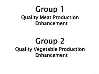 Group 1 Quality Meat Production Enhancement  Group 2 Quality Vegetable Production Enhancement