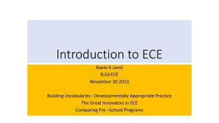 Introduction to ECE