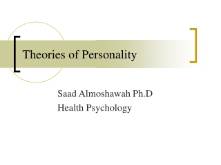 psychoanalytic theories of personality