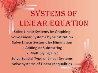 Solve Linear Systems by Graphing Solve Linear Systems by Substitution Solve Linear Systems by Elimination Adding or Subt