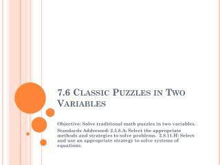 7.6 Classic Puzzles in Two Variables