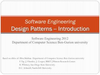 Software Engineering Design  Patterns --  Introduction