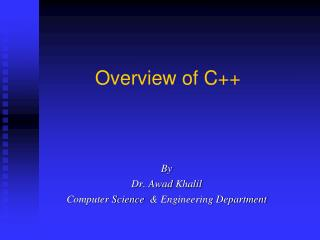 Overview of C++