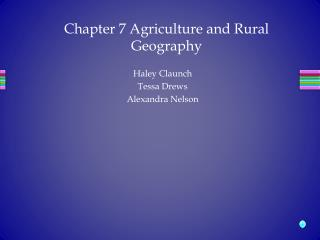 Chapter 7 Agriculture and Rural Geography