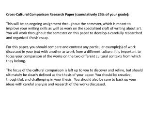 Cross-Cultural Comparison Research Paper (cumulatively 25% of your grade):