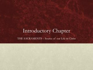 Introductory Chapter